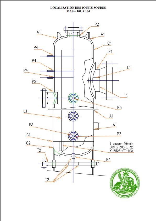 exemple de localisation de joints soudés sur un ensemble chaudronné filtre séparateur. Source: soudeurs.com