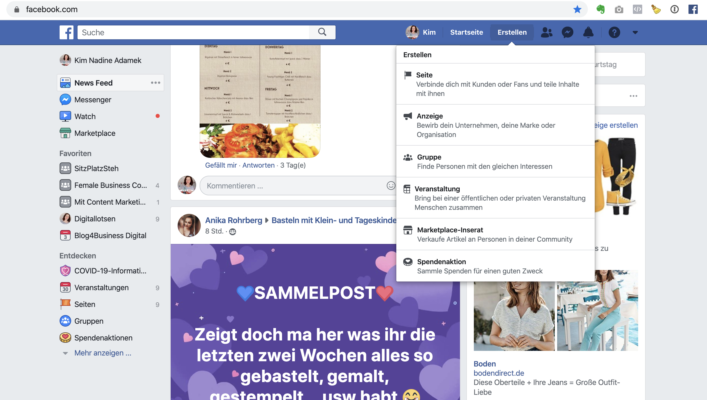 Facebookseite erstellen