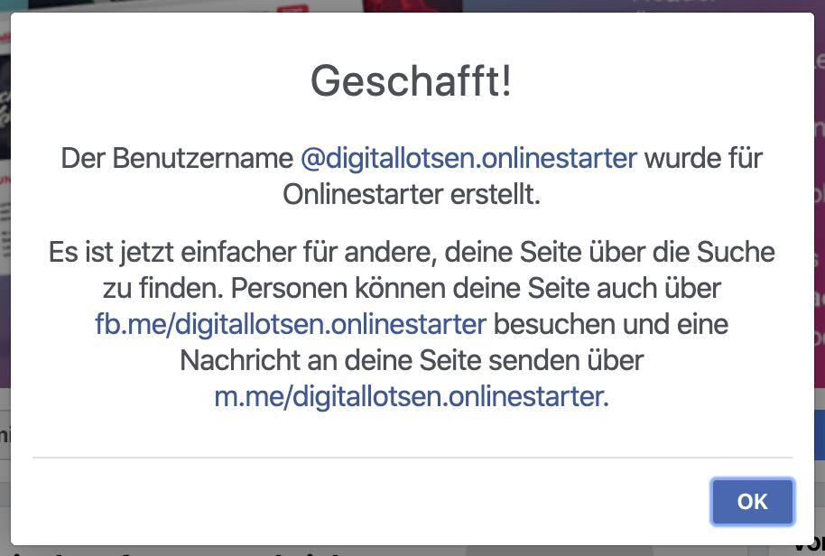 Facebookseite erstellen - Benutzername vergeben