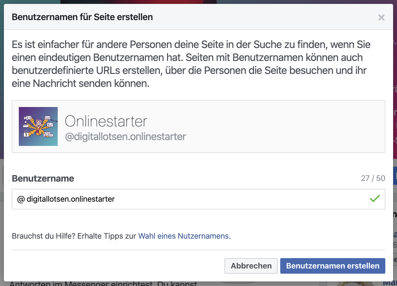 Facebookseite erstellen - Benutzernamen vergeben