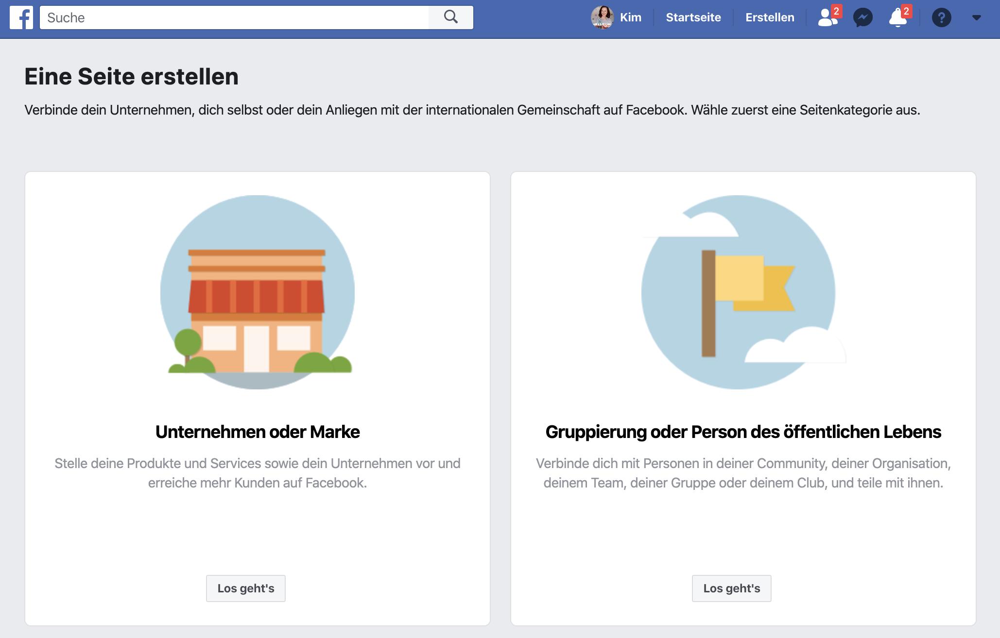 Facebookseite erstellen: Seite eingruppieren