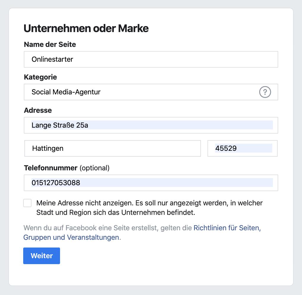 Facebookseite erstellen: Name, Adresse und Kategorie