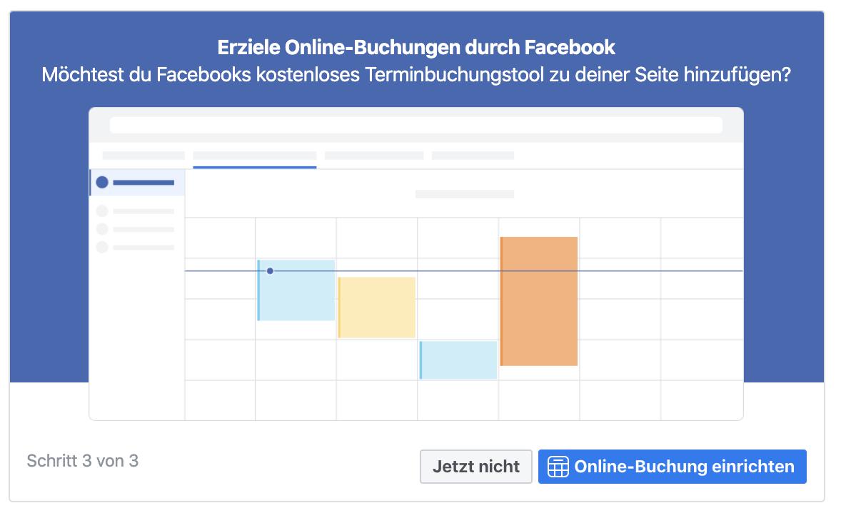 Facebookseite erstellen: Terminbuchung einrichten