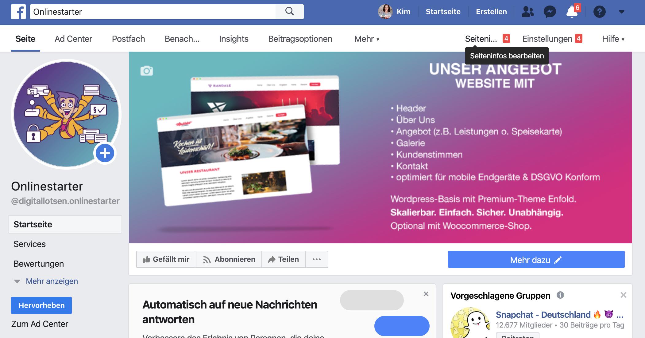 Facebookseite erstellen - Seiteninfos bearbeiten