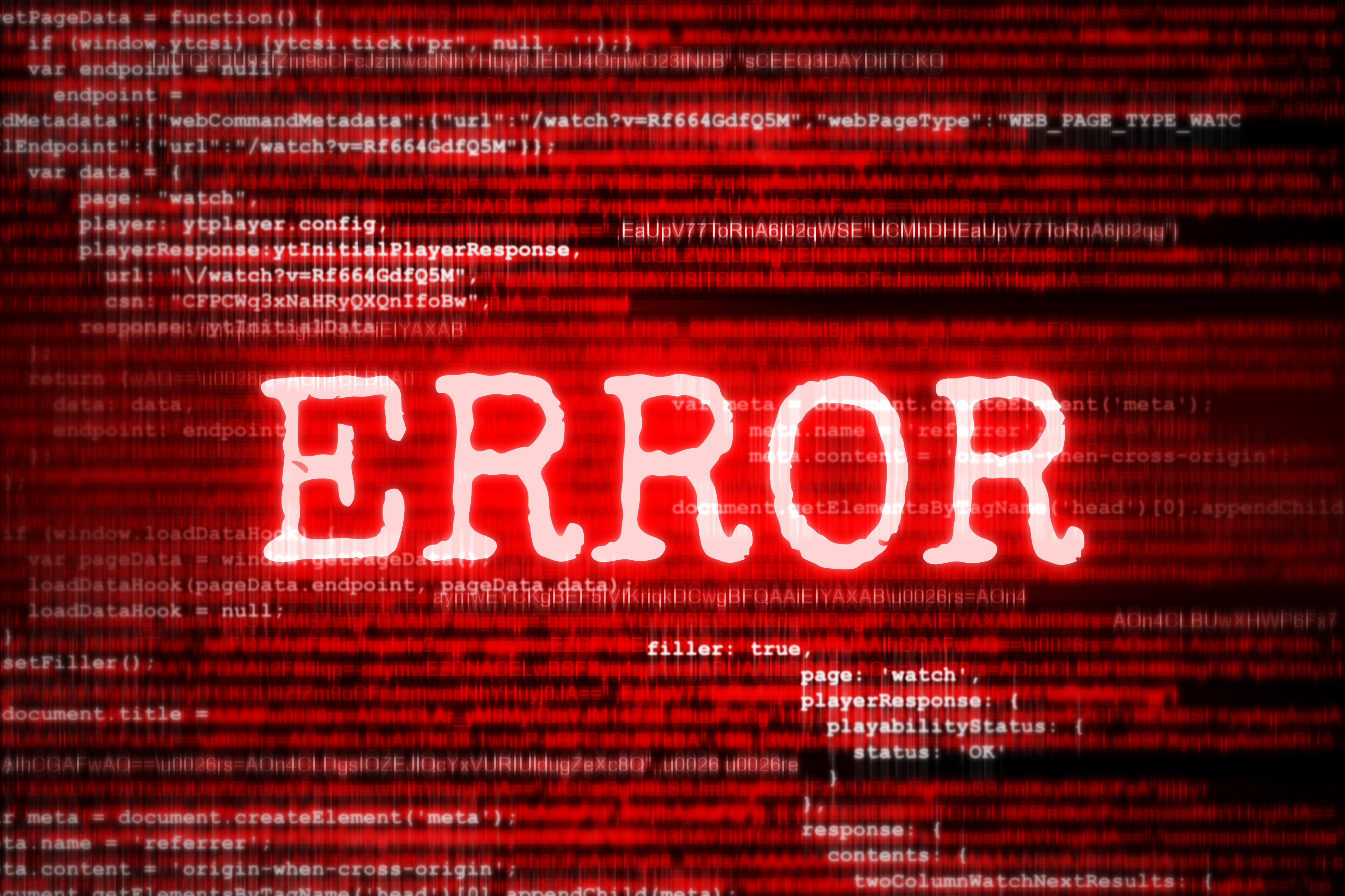 """Red text that says """"ERROR"""", overlaid upon source code"""