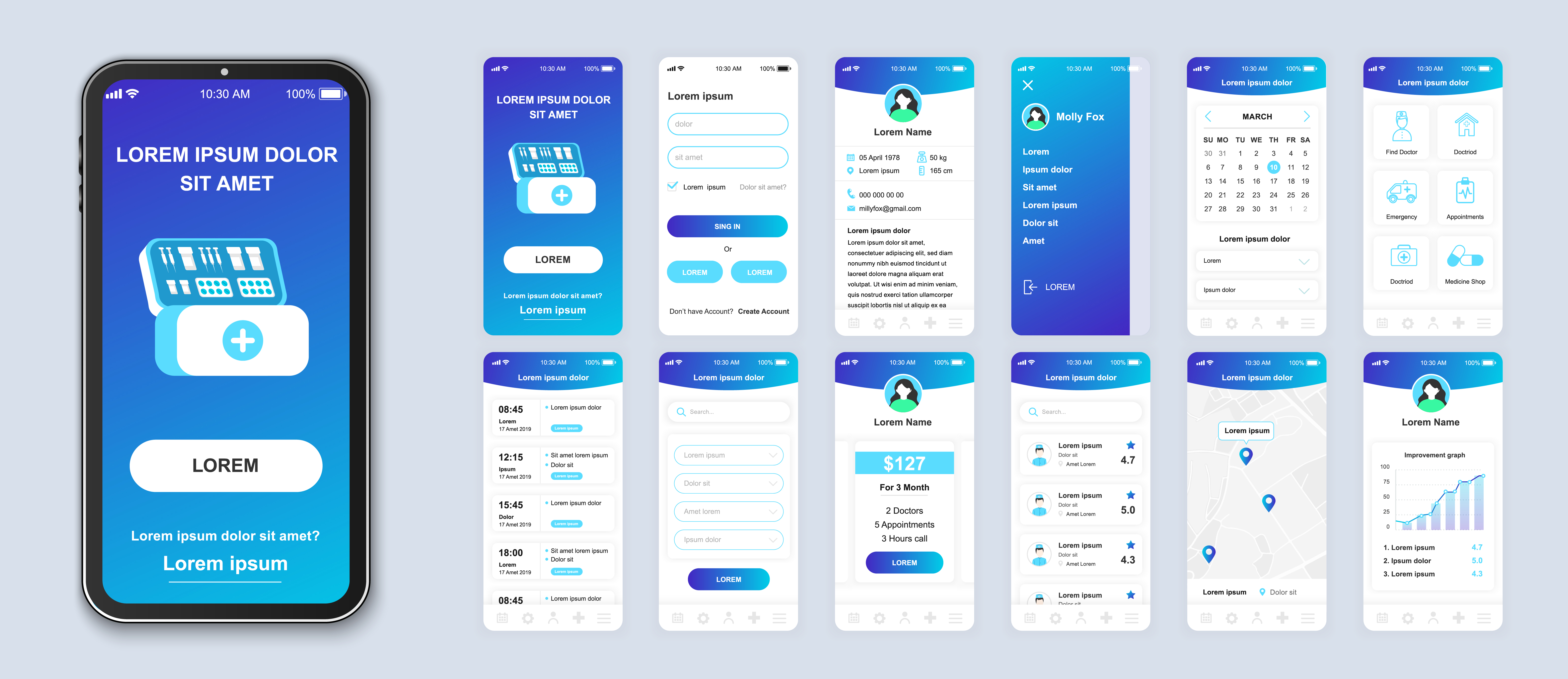 A series of high-fidelity mockups of a mobile application
