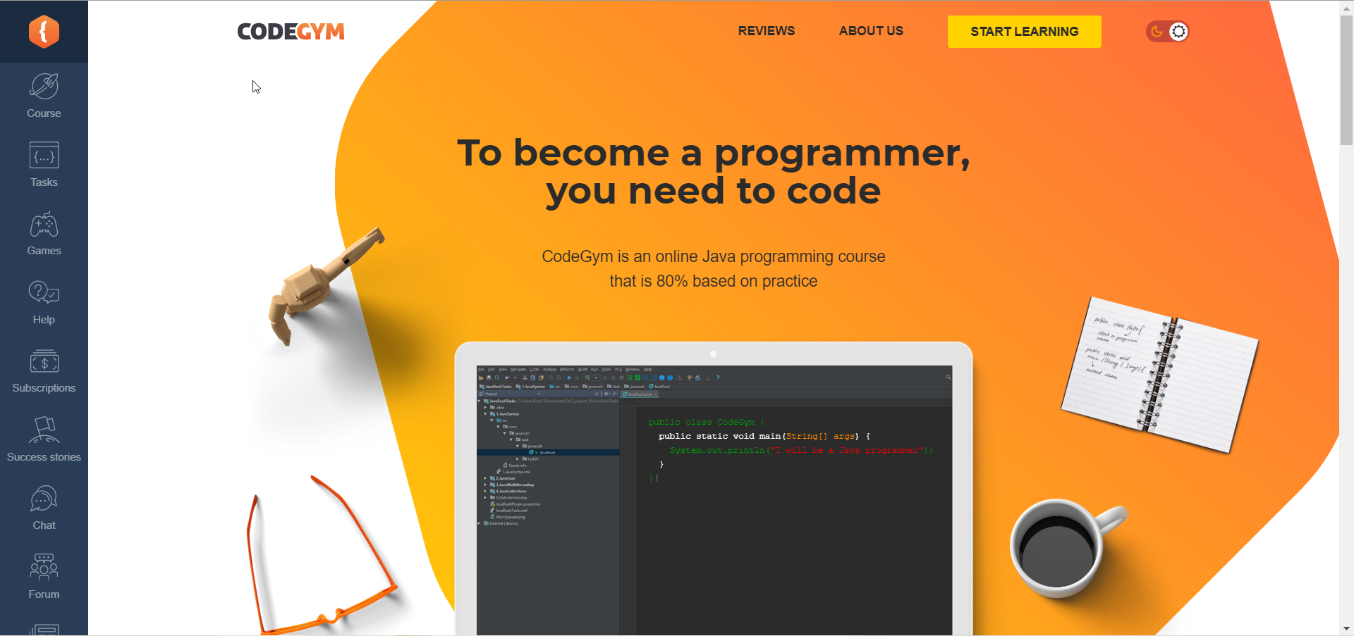 Learn how to code with CodeGym - Home Screen