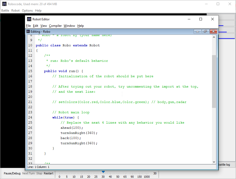Learn how to code with Robocode - Editor Screen