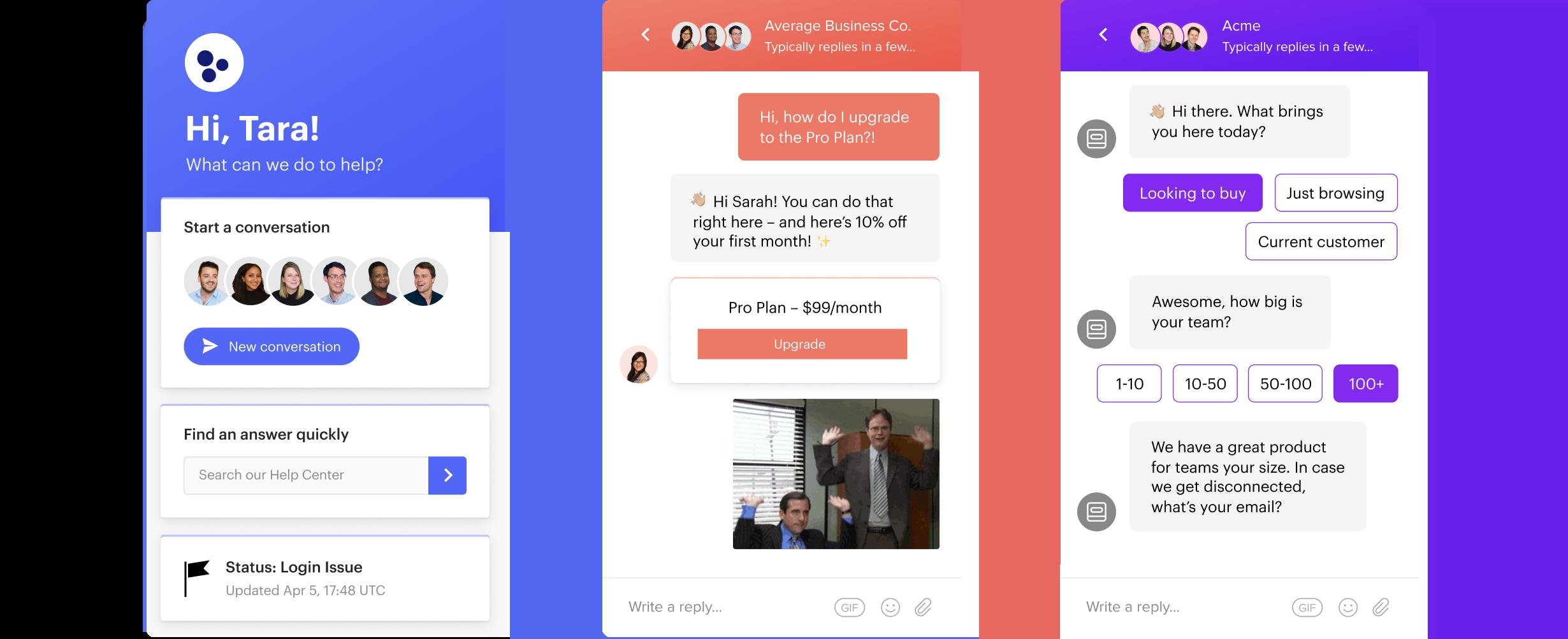 Three screenshots of the Intercom chat application