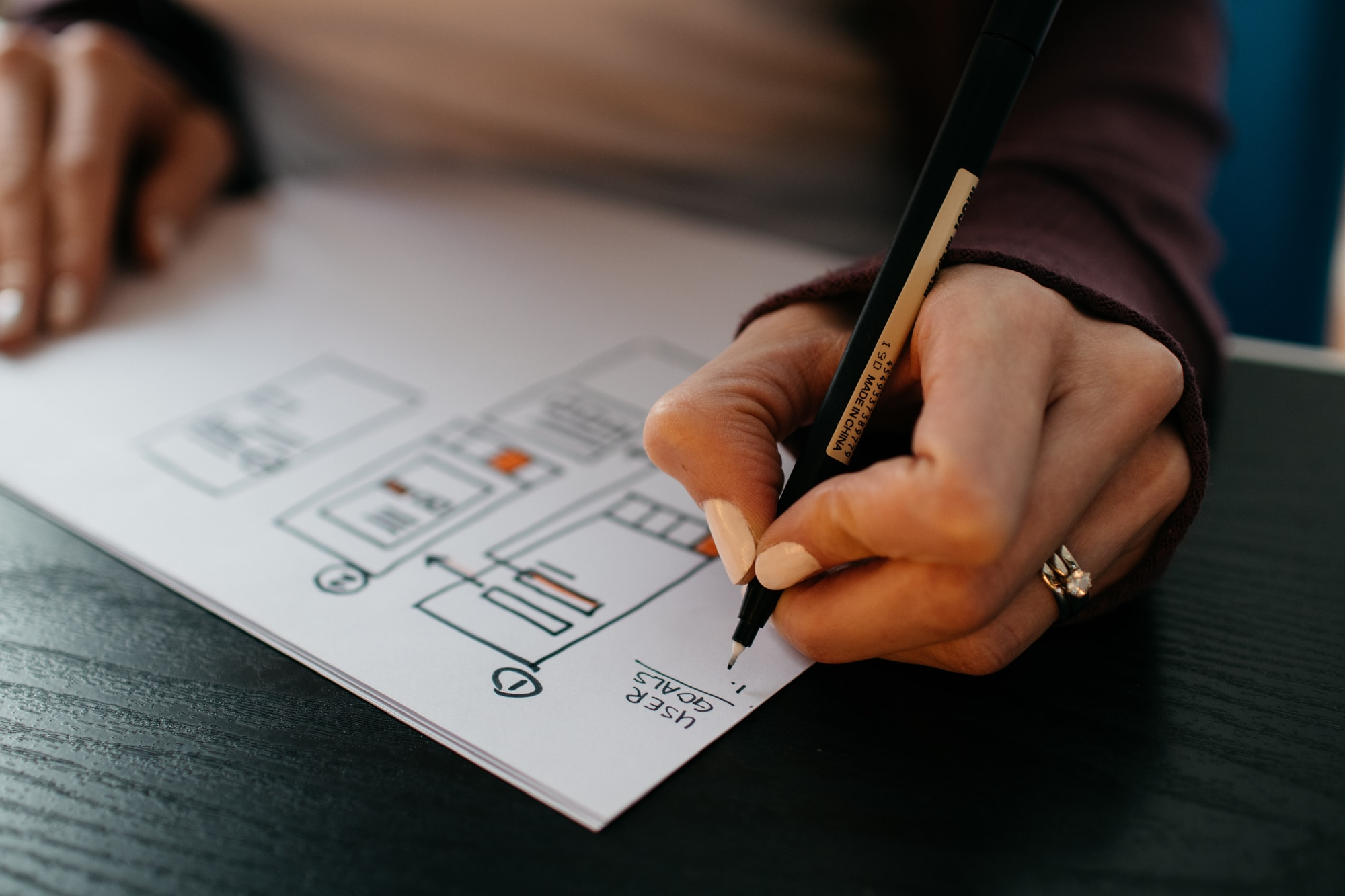 A woman sketching app wireframes on paper