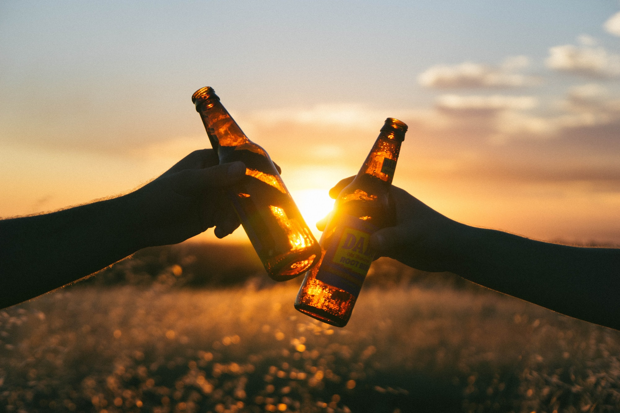 Two people cheers in front of a sunset