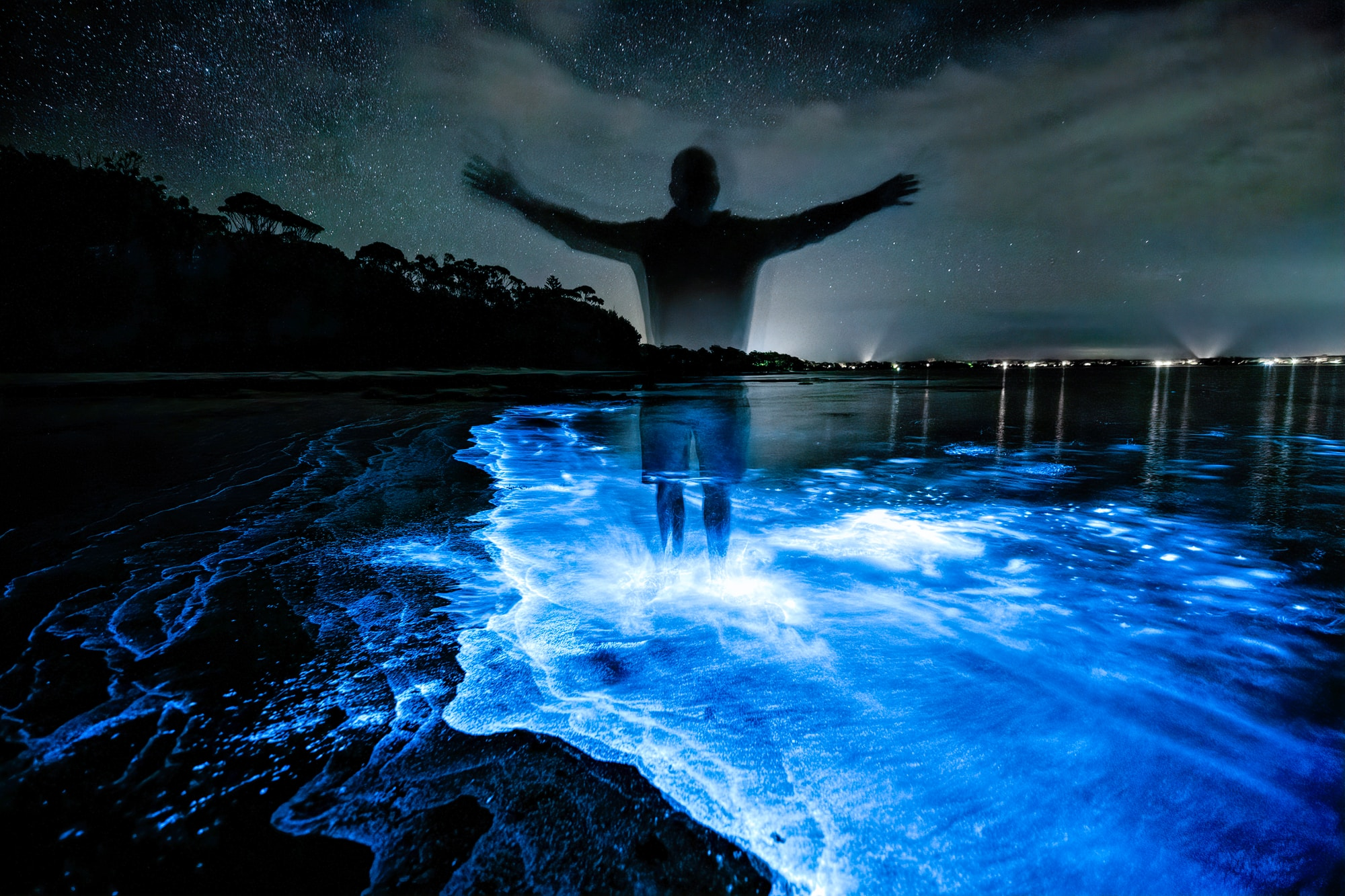 Jervis Bay Bioluminescence Bioluminescence is the production and emission of light by a living organism, in this case algae that when disturbed glows blue. This occurs at various but limited locations around the world.