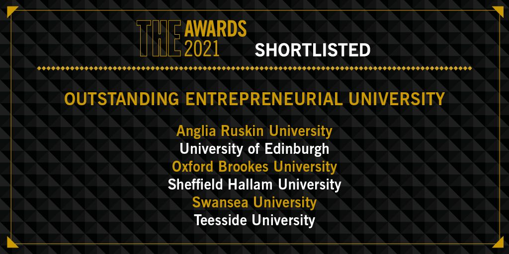 Teesside University shortlisted for Entreprenerial University award