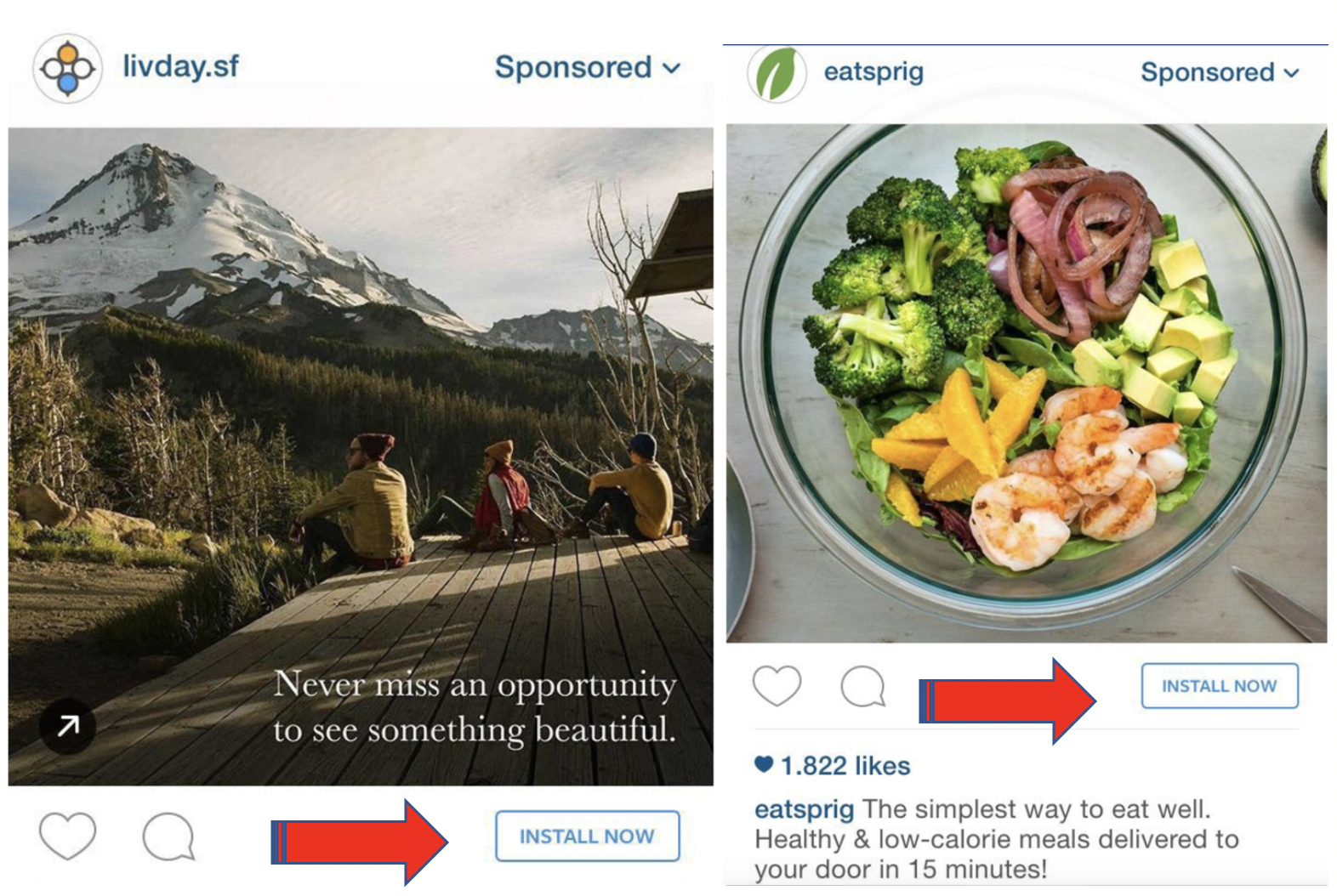 Instagram CTA on Ads – Install now