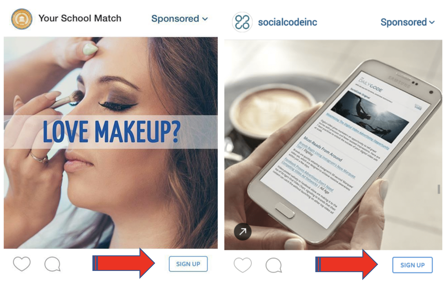 Instagram CTA on Ads – Sign Up!