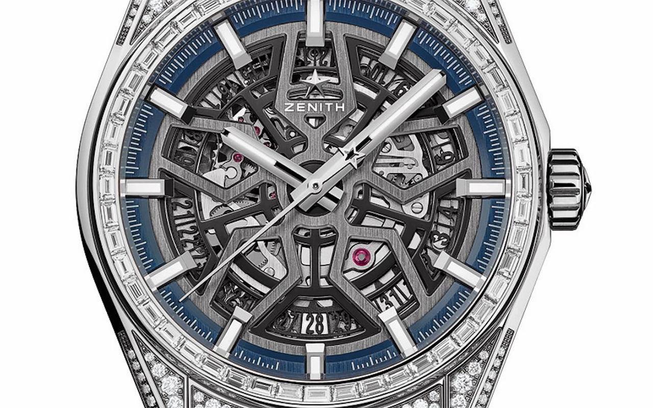 Zenith horloges: Zenith DEFY El Primero 21 High Jewelry - blauw met diamanten inleg