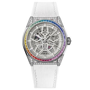 Zenith horloge: Zenith DEFY El Primero 21 High Jewelry wit met diamanten inleg en rainbow effect