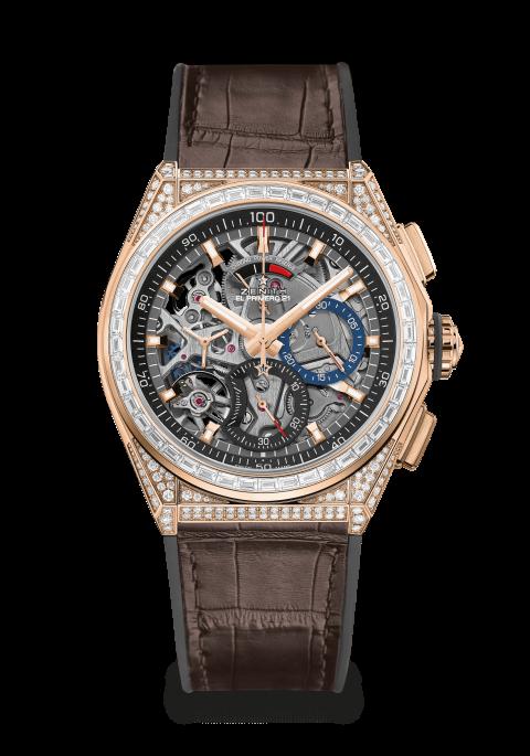 Zenith horloge: Zenith DEFY High Jewelry - 1e model in 44 mm met 5 karaat aan witte diamenten