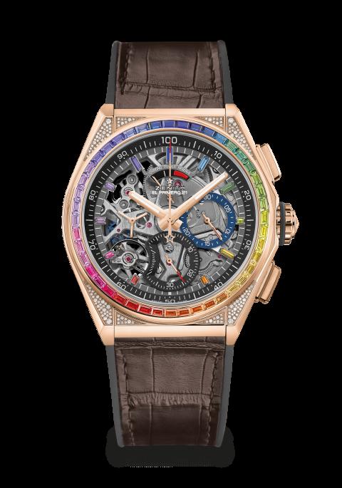 Zenith horloge: Zenith DEFY High Jewelry - 44 mm een kleurrijke vol ingelegde verschijning