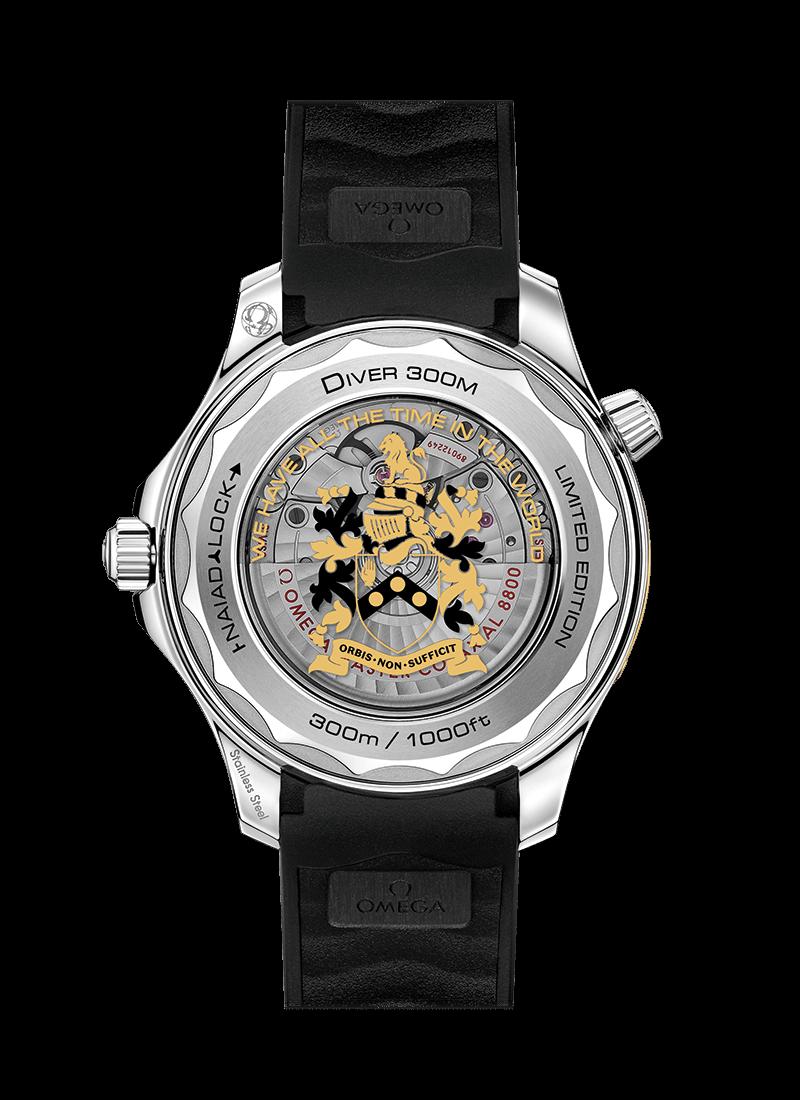 Omega horloge: James Bond 007 Omega Seamaster 300M Diver - achterkant horloge
