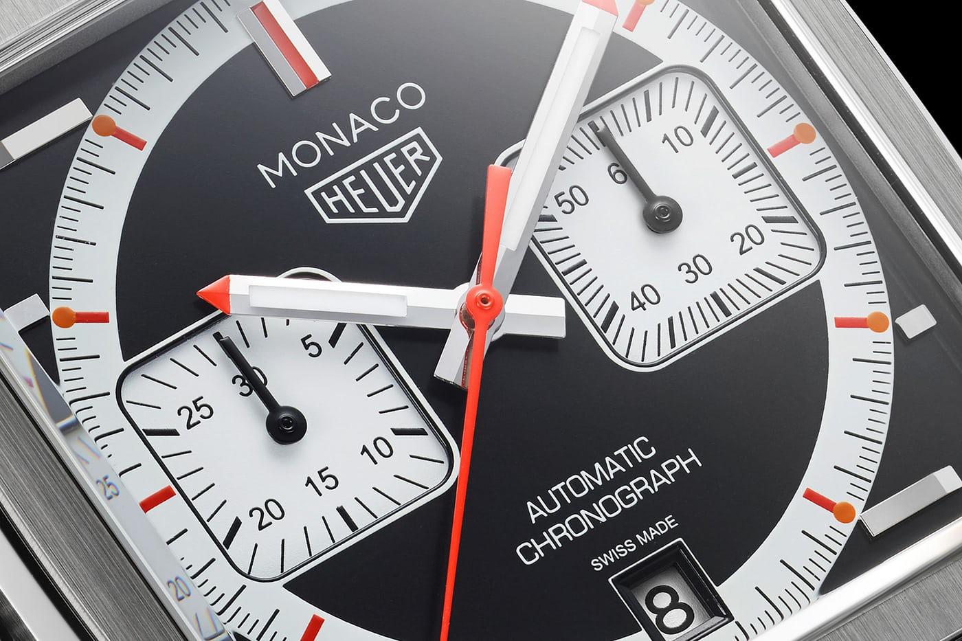 Tag Heuer horloge Monaco 4th Limited Edition 1999-2009 series - close up wijzerplaat