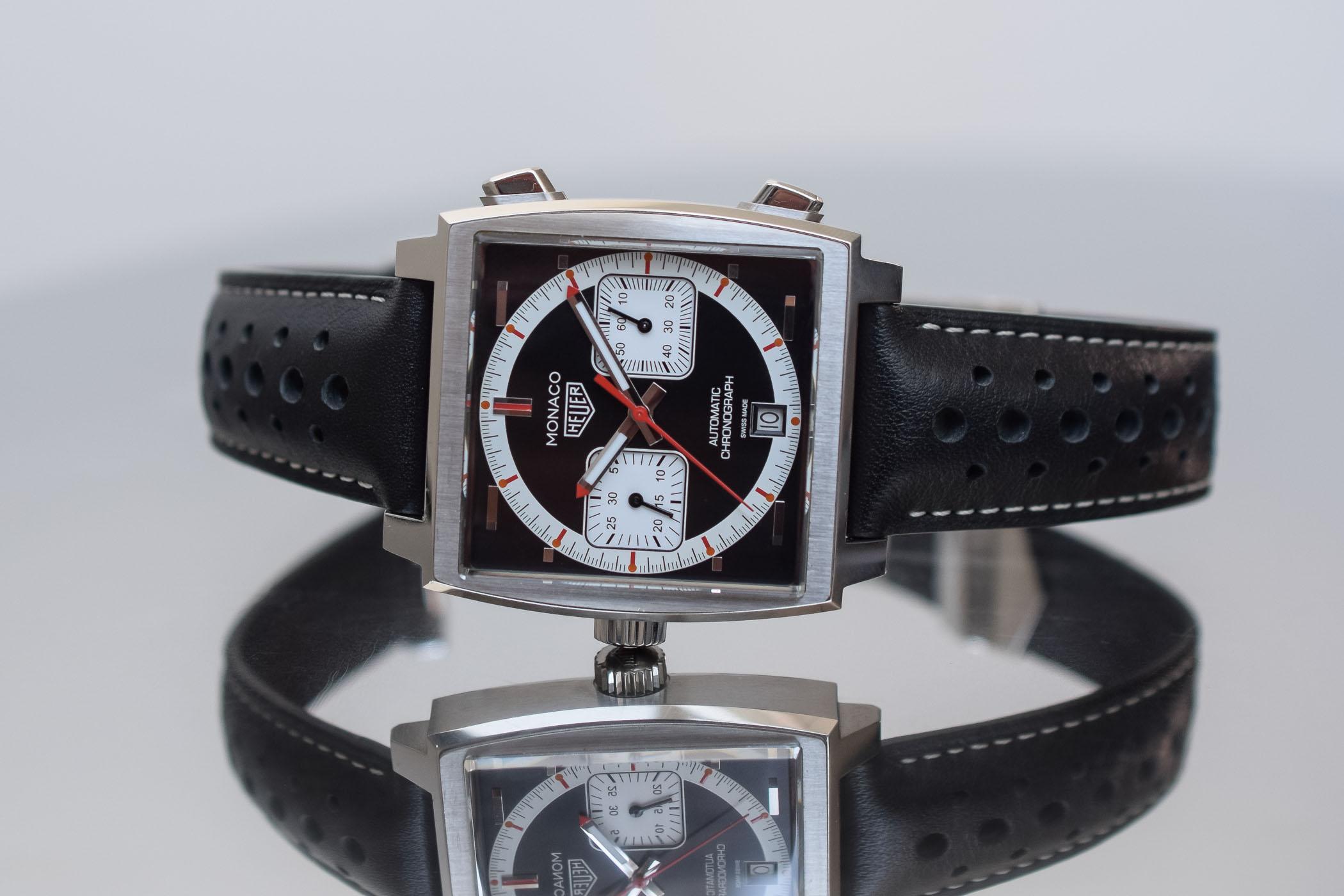 Tag Heuer horloge Monaco 4th Limited Edition 1999-2009 series met zwart leren band