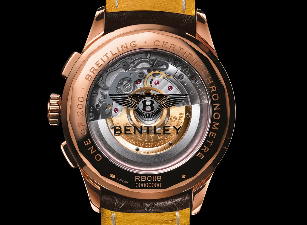 """Brietling horloge: Achterkant """"One of 200"""" van de 18k Rosé Gouden versie Breitling B01 Chronograph 42 Bentley Centenary Limited Edition"""