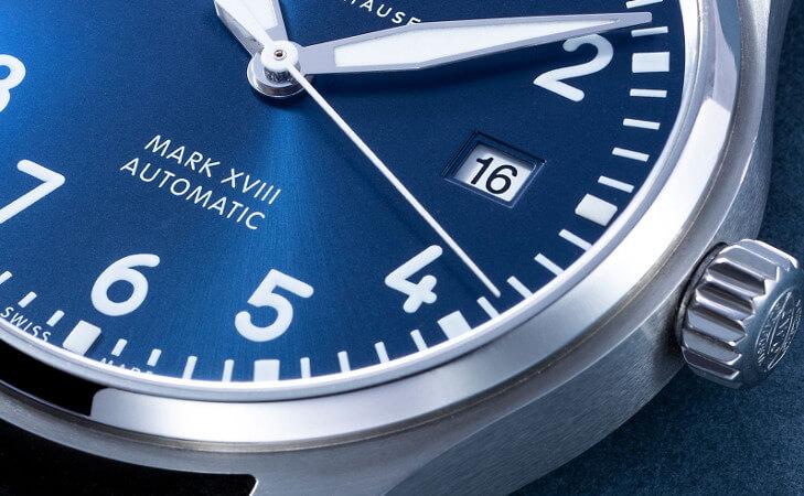 IWC horloge Mark XVIII - 40 mm stalen band, donkerblauwe wijzerplaat