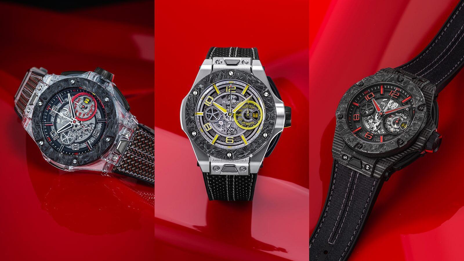 Hublot horloge: Iedere Hublot Big Bang Scuderia Ferarrari heeft een van de 3 team kleuren